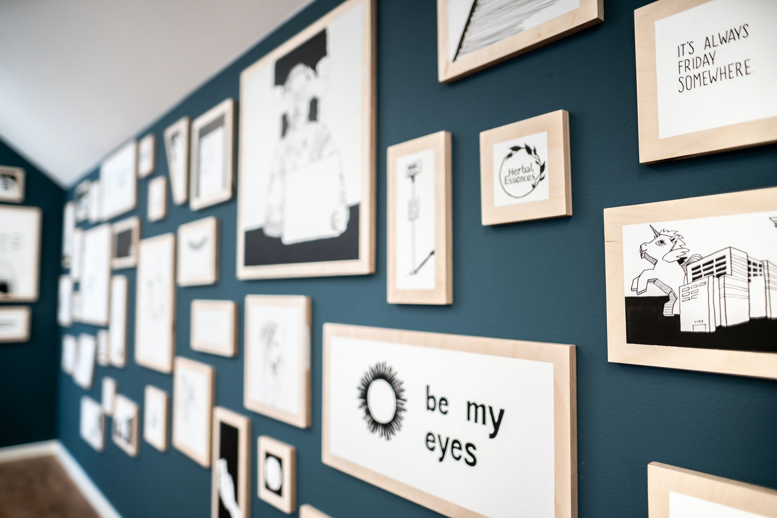 Bespoke art wall with 72 individual panels at Be My Eyes's office