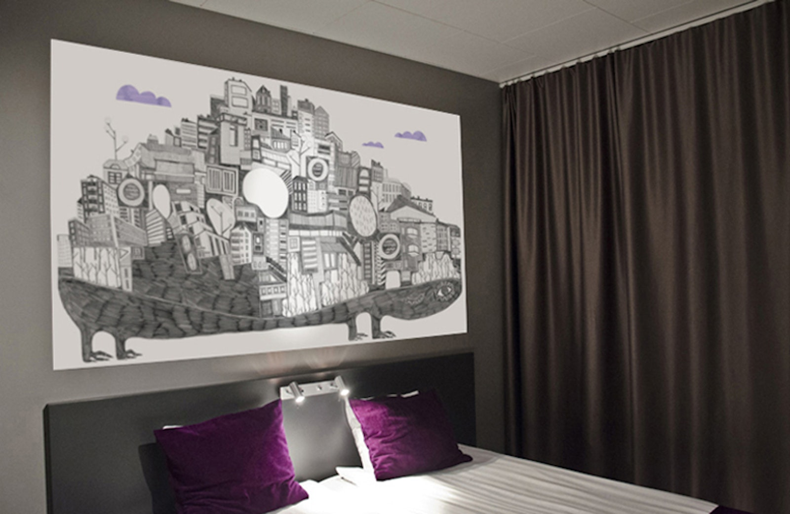 Bespoke art panels at Connect Hotel in Stockholm by Isabel Leal Bergstrand