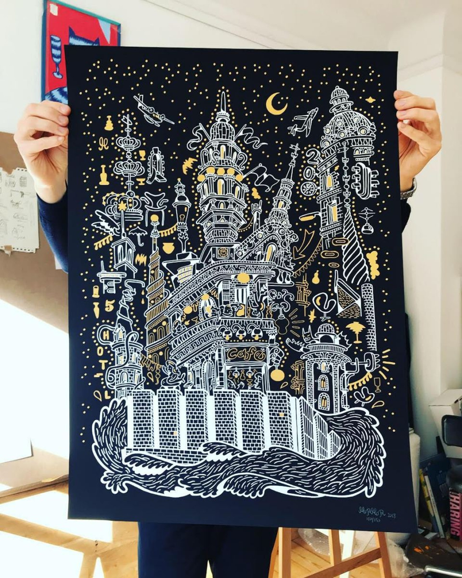 Silkscreen print created for Danmarks Nationalbank