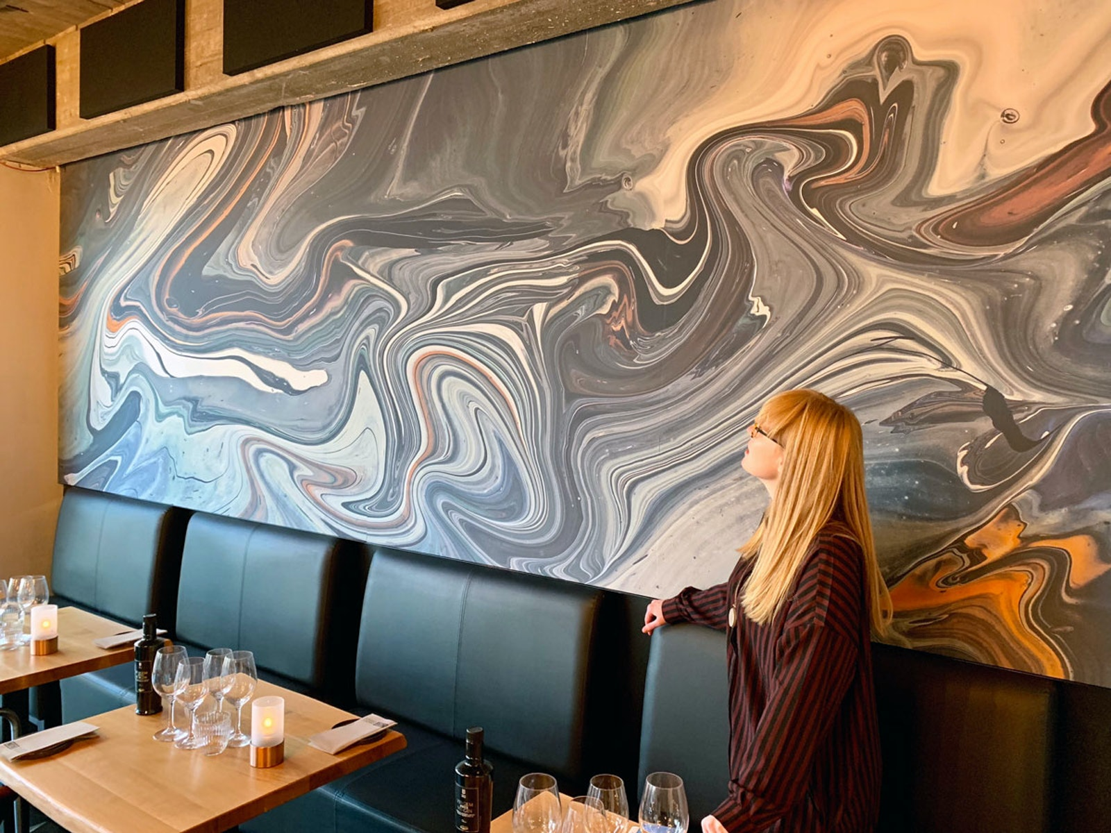 Acoustic art panels at restaurant No16 by Ruth Crone Foster