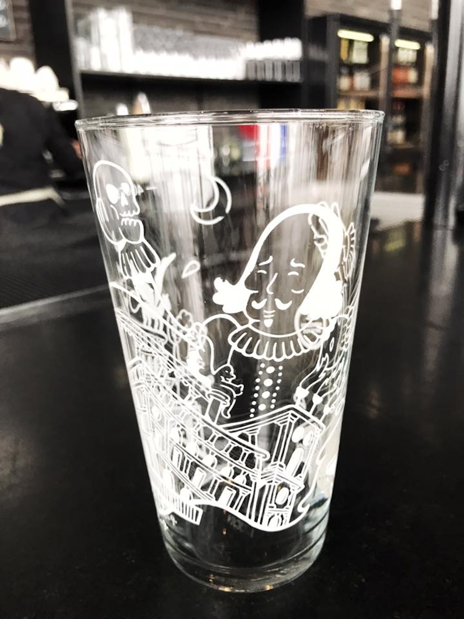 Beer glass by artist Mormor made for Nørrebro Bryghus