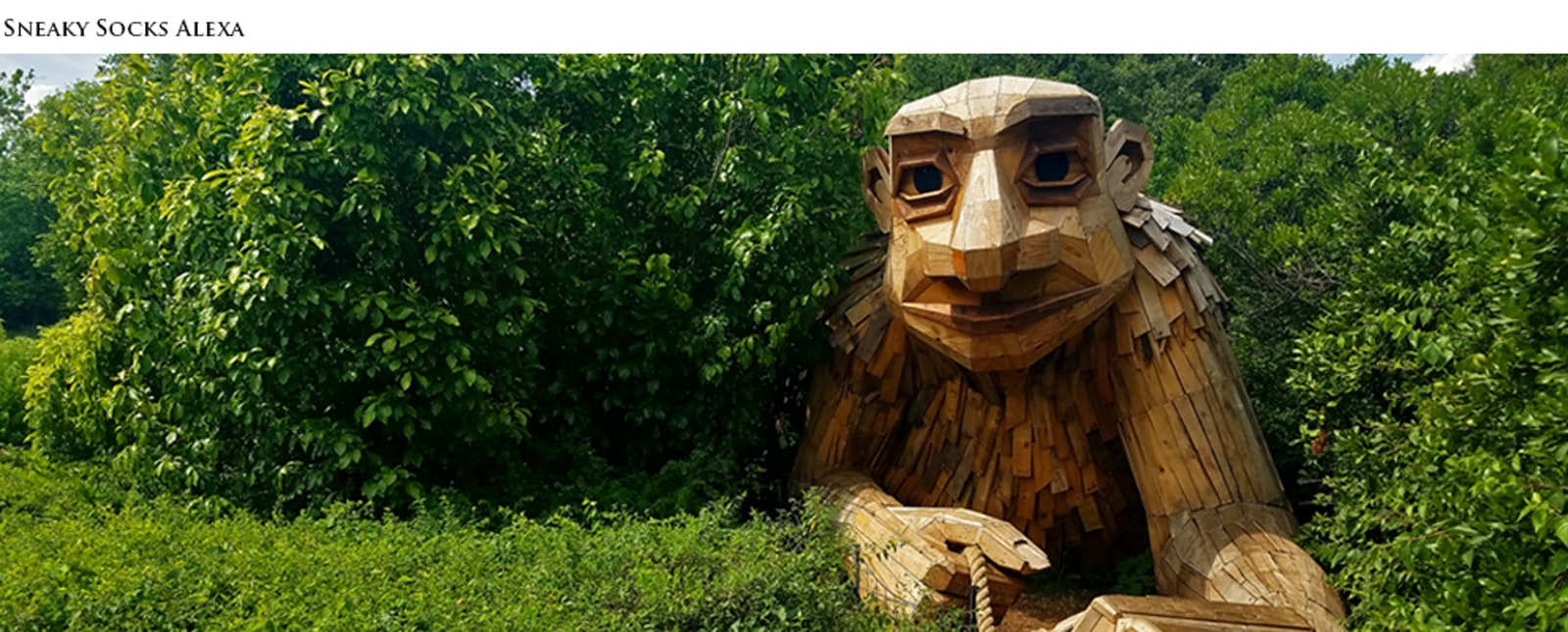 One of six troll sculptures made of trash wood by Danish artist Thomas Dambo
